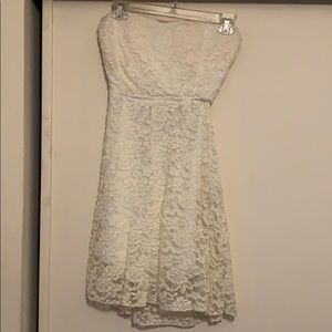 White Strapless Short Lace Dress